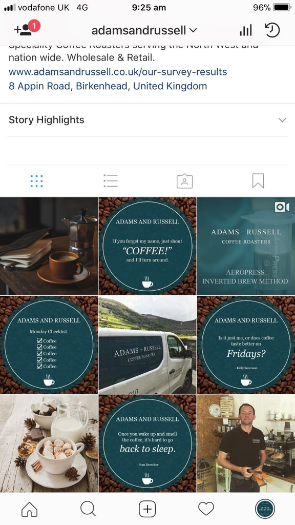 Adams and Russell Instagram Layout
