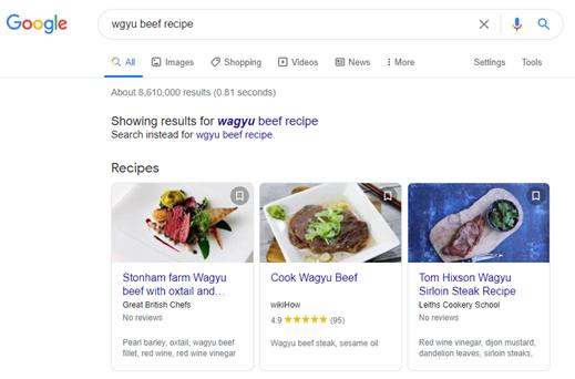 Food-SEO-Wagyu-Beef-Recipe-Google-Search